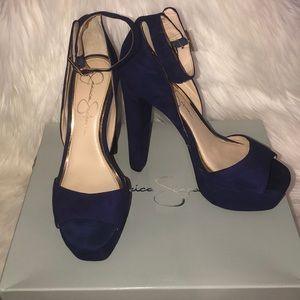 Deep Purple Lux kid suede heels